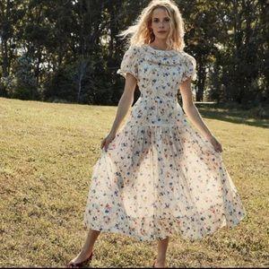 Doen Fiore floral ruffle octavia print dress M